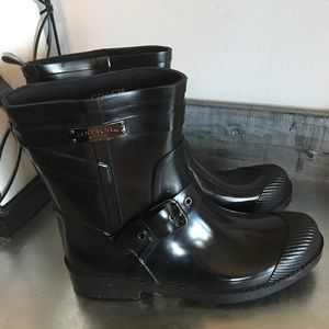Coach black rain boot galoshes